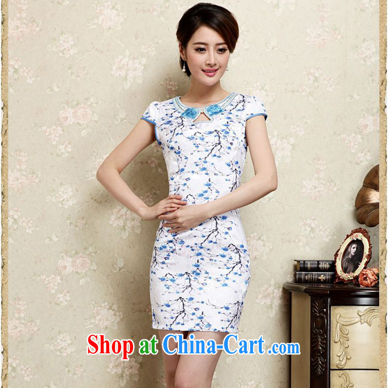 Forest narcissus summer 2015 new retro black Phillips-style improved cheongsam short beauty package and graphics thin cheongsam Chinese JAYT - 30 Blue on white flowers XXL
