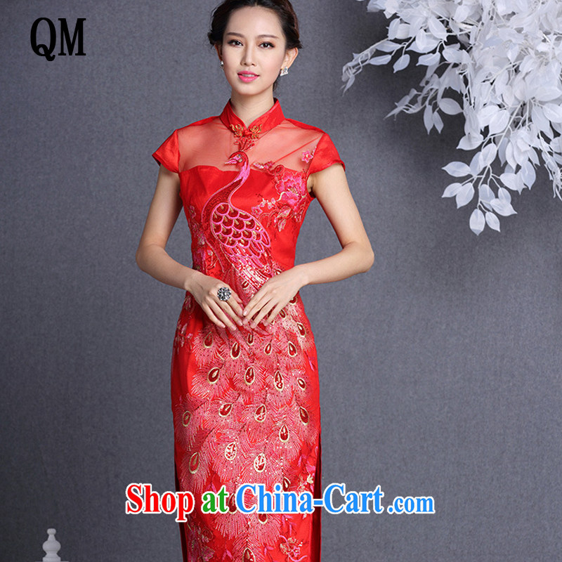 Shallow end improved stylish Web yarn embroidery, banquet long cheongsam XWG 1309 - 22 red XXL