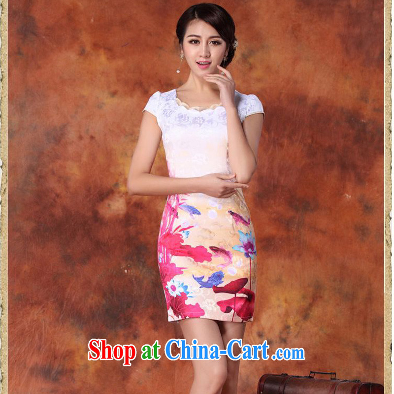 Forest narcissus summer 2015 new retro painting fish South Africa lotus flower-shaped round-collar package and short cheongsam Sau San Tong load JAYT - 29 pink XXL