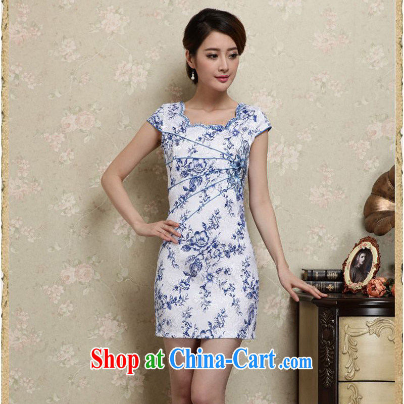 Forest narcissus summer 2015 new stylish and elegant improved cheongsam Cheong Wa Dae temperament suit Ms. Short cheongsam, qipao Sau San Tong load JAYT - 28 blue XXL