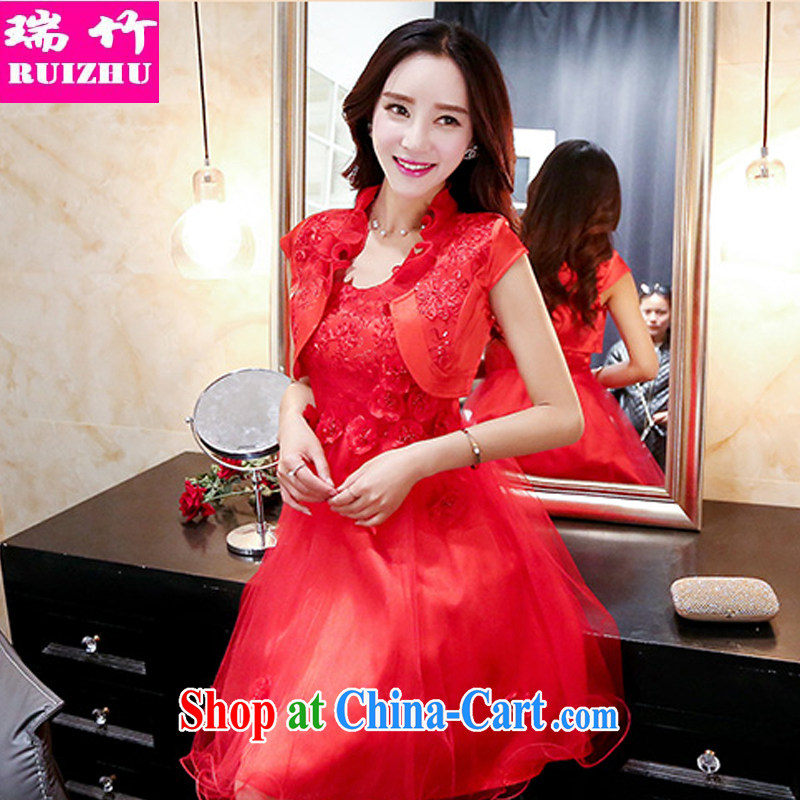 Shui bamboo 2015 Spring Summer Fall with new strap with bare chest beauty evening gown dress sweet flowers wavy edge Princess dress short-sleeved small shawl jacket two-piece red XXXL