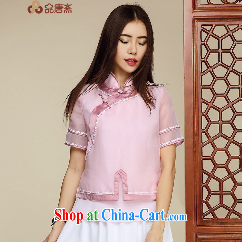 Mr Henry Tang, Id al-Fitr original Tang Women's clothes retro T-shirt Chinese wind improved cheongsam short-sleeved shirt T upscale Chinese clothing pink XL pre-sale