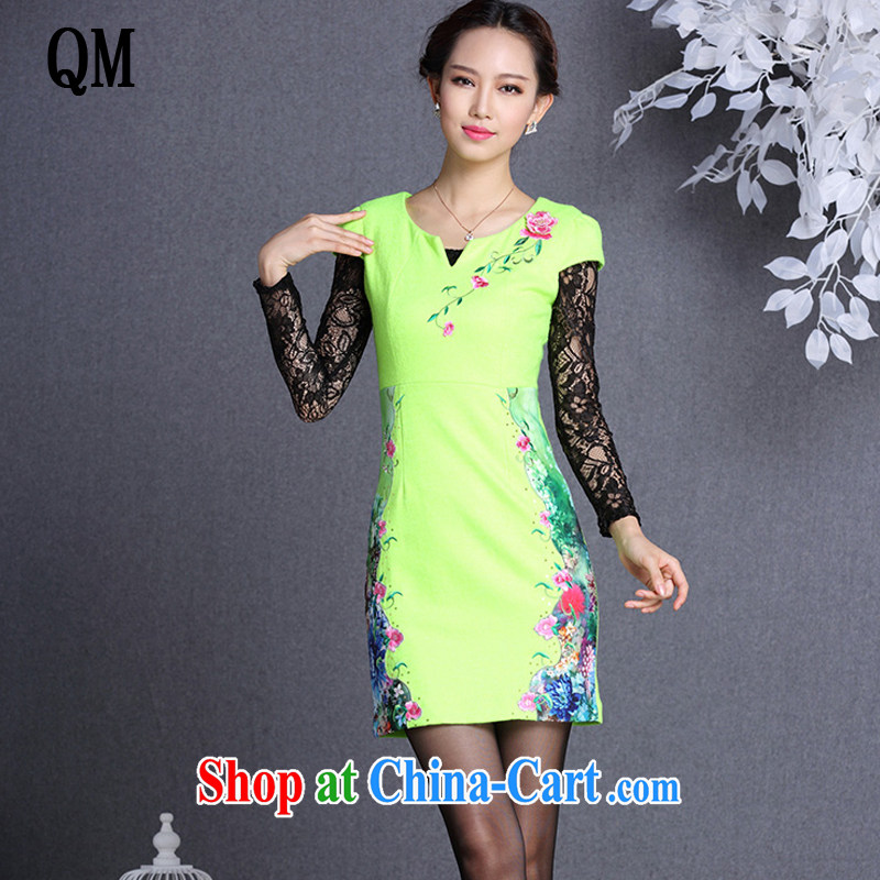 The end is improved and stylish beauty graphics thin stitching Embroidery is gross short cheongsam dress XWG 818 fluorescent green XXL