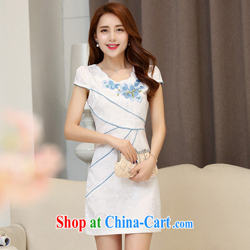 Cover Story 2015 new stylish cultivating improved embroidery style cheongsam dress dresses Hester Prynne XXL
