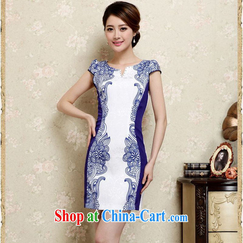 Forest narcissus summer 2015 new retro ethnic wind blue and white porcelain floral V collar short-sleeved short cultivating improved cheongsam Chinese JAYT - 26 blue XXL