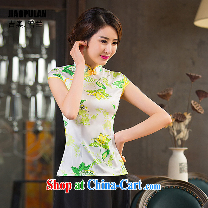 Mr. Kaplan summer 2015 new female short-sleeve T-shirt daily improved stylish retro short cheongsam silk Tang replace PL 2331 photo color 2331 XXL