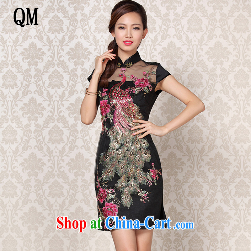 The end is improved and Stylish retro Web yarn embroidered Ethnic Wind short-sleeved banquet short cheongsam XWG 13 - 6089 Map Color XXL
