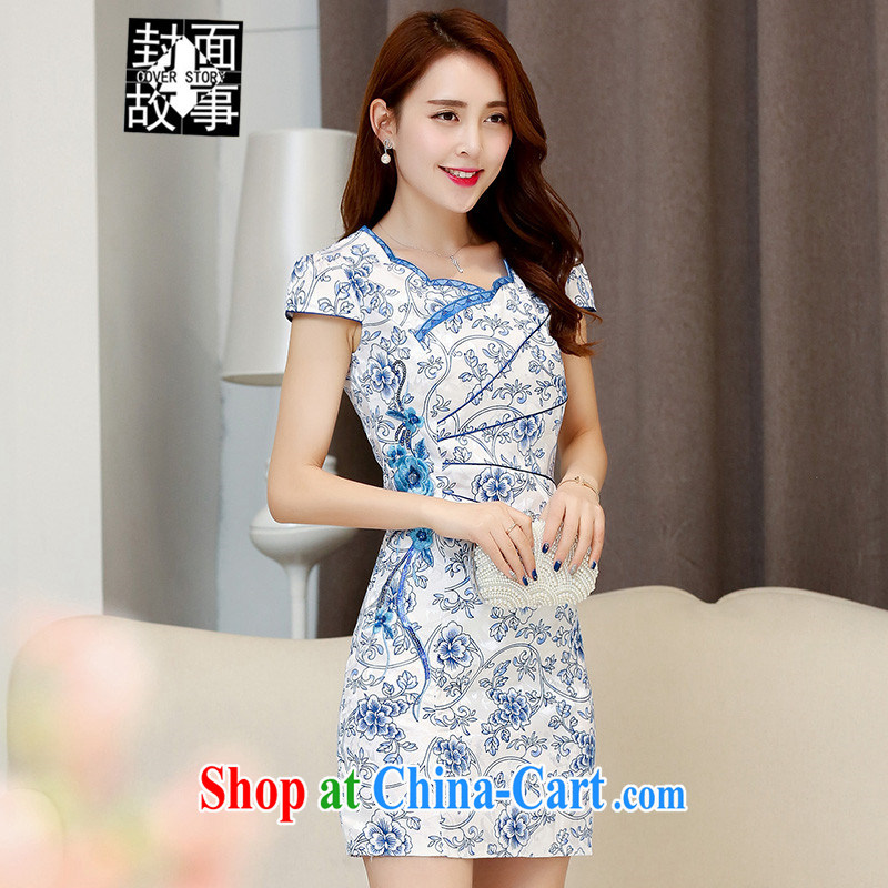 Cover Story 2015 spring and summer new stylish blue and white porcelain style small floral retro improved cheongsam dress dresses small dress blue XXL