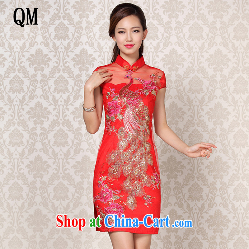 Shallow end improved stylish Web yarn, embroidered wedding short cheongsam XWG 13 - 6088 red XXL