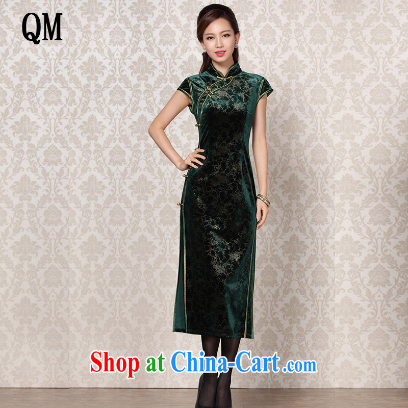 Shallow end Silk Velvet improved stylish dresses and elegant antique banquet, qipao XWG 13 - 6098 dark XL