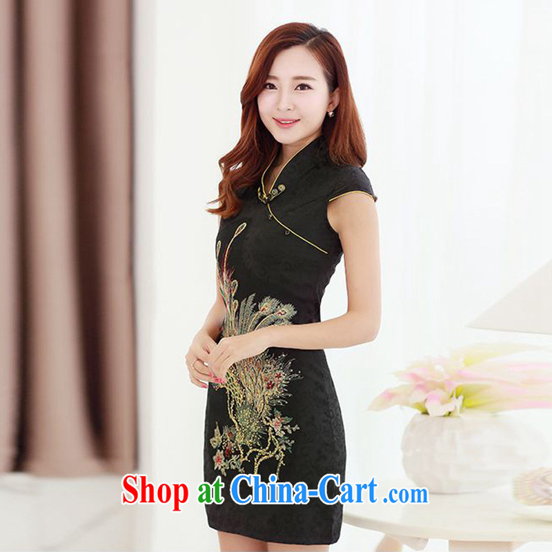 Forest narcissus summer 2015 new retro improved cheongsam dress Peacock tattoo Phnom Penh is withholding the collar cheongsam Chinese JAYT - 4 black XXL