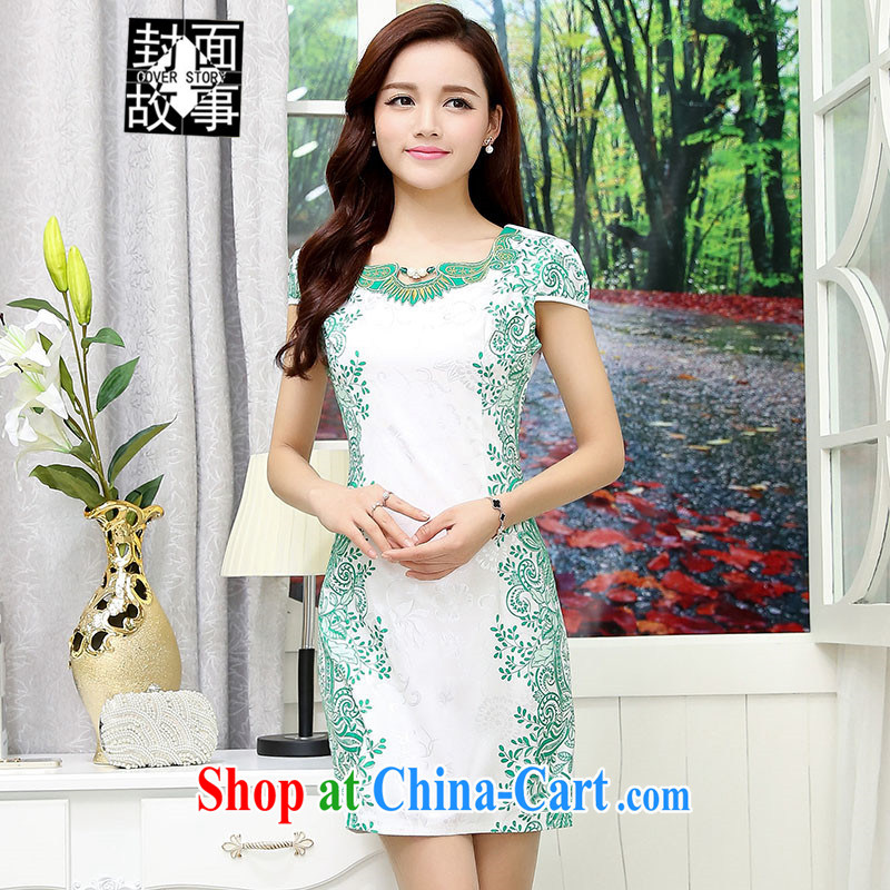 Cover Story 2015 new blue and white porcelain antique embroidered short sleeves cheongsam short dresses ladies white and green XXL
