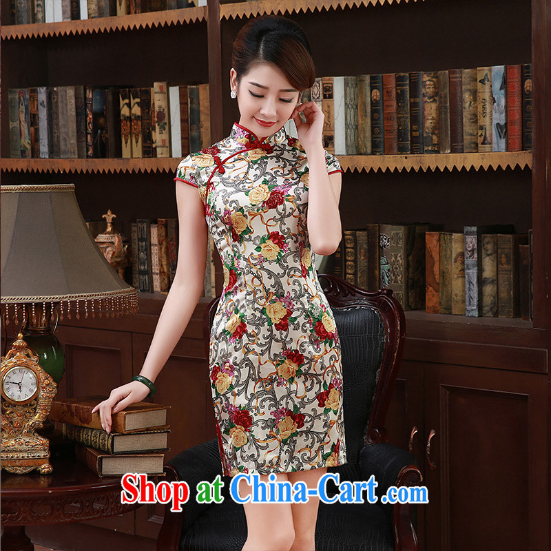 cheongsam dress spring 2015 New Silk Cheongsam MOM daily improved temperament sauna silk Q 1050 champagne color XXL