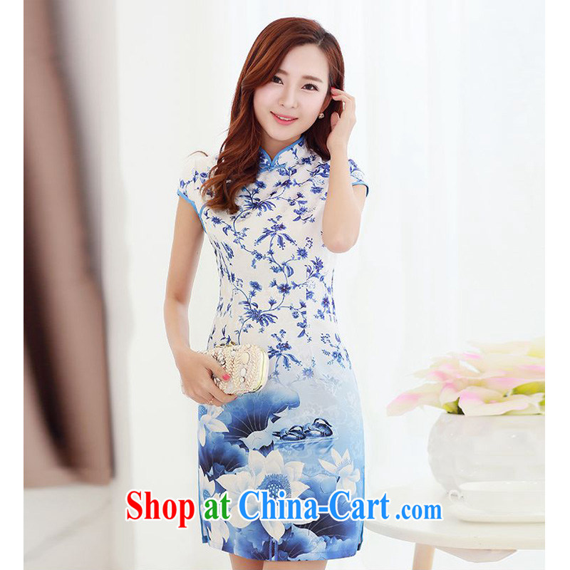 JA the 2015 summer on the new ink Lotus streaking retro-tie, for improved cheongsam beauty package and graphics thin cheongsam Chinese JAYT - 1 picture color XXL