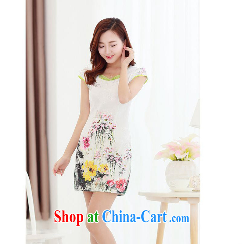 The JA summer 2015 the new stylish and elegant improved cheongsam fresh Lotus Peony floral beauty package and graphics thin cheongsam Chinese JAYT - 2 Lotus XXL