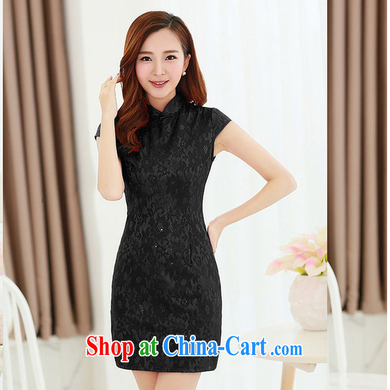 The JA summer 2015 the new stylish retro-tie, for improved cheongsam beauty package and graphics thin cheongsam Chinese JAYT - 5 black XXL