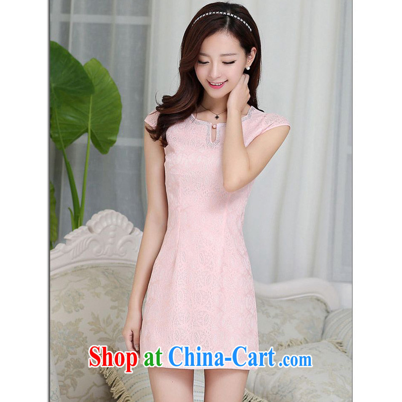 JA the 2015 summer on the new Korean lace lady elegant short beauty package and graphics thin dresses cheongsam Chinese JAYT - 23 pink S