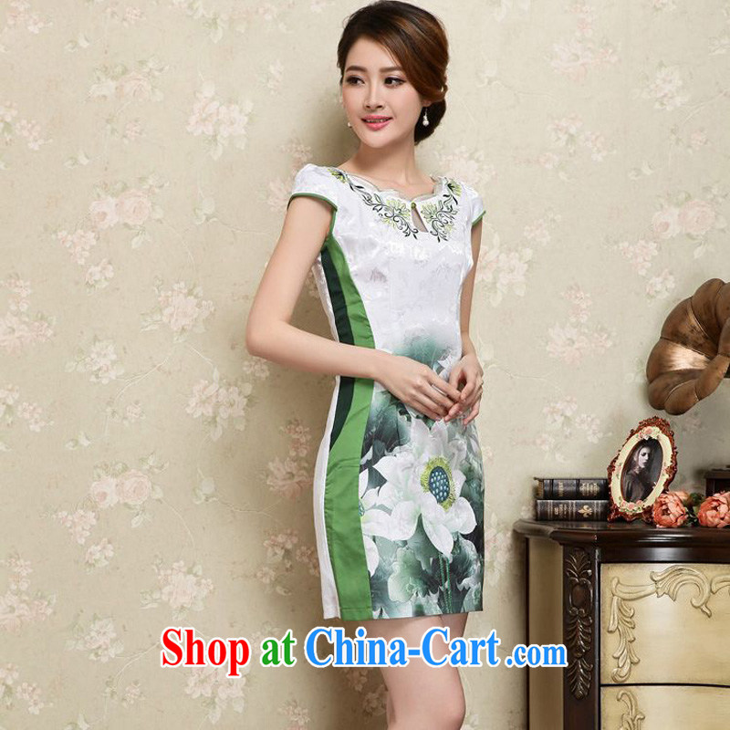 Tze-The 2015 summer on the new sleek improved qipao and fresh white lotus bottom short beauty package and graphics thin cheongsam Chinese JAYT - 25 green XXL