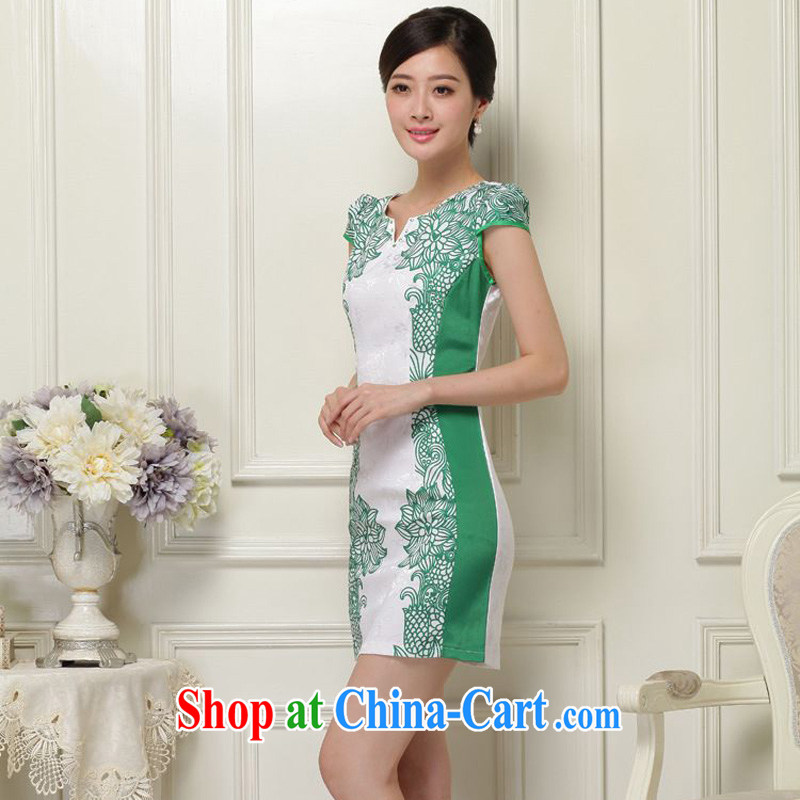 JA the 2015 summer on the new retro ethnic wind blue and white porcelain floral V collar short-sleeved short cultivation improved cheongsam Chinese JAYT - 26 Green S