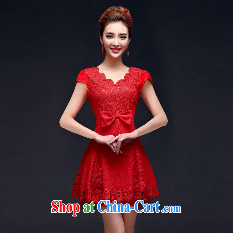 A good service is 2015 new autumn and winter red bridal wedding dresses stylish long-sleeved back door robes bows serving short-sleeved 2XL