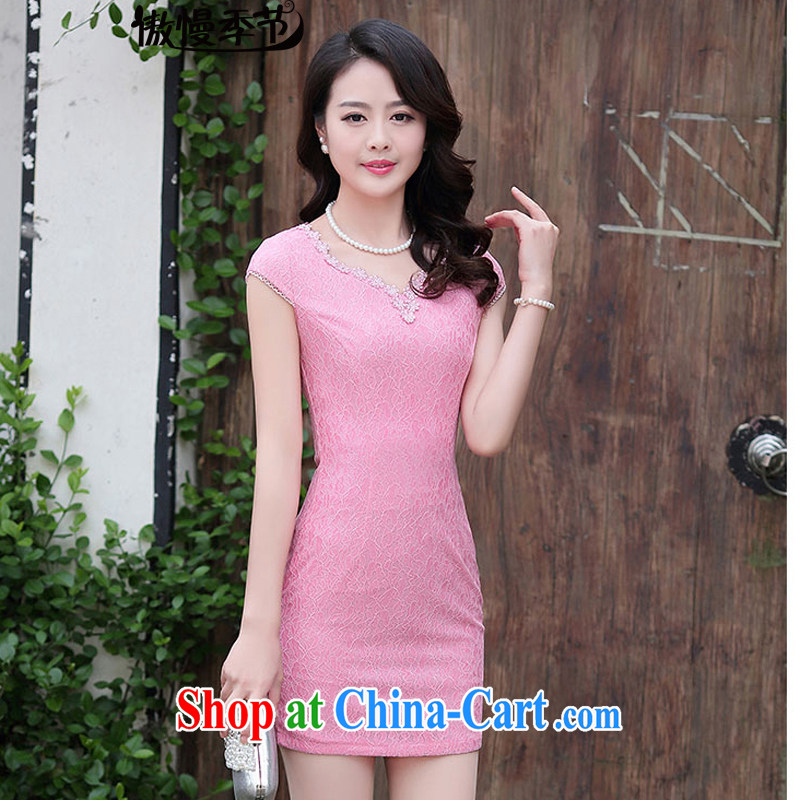 Arrogant season summer 2015 new Korean video thin beauty lace package and solid short-sleeve further skirts dresses girls dresses peach XXL