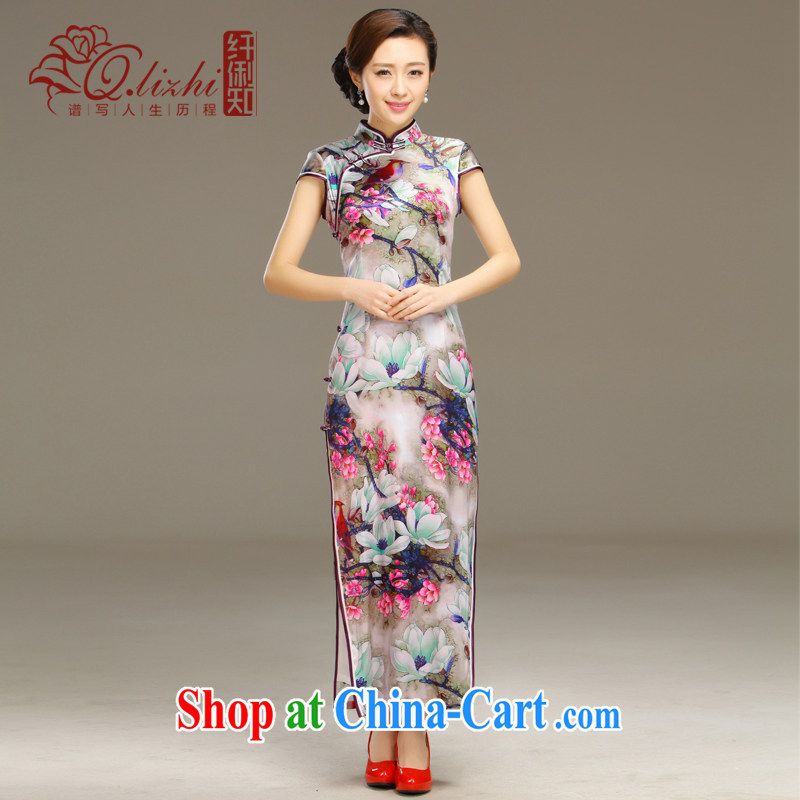Slim li know smoke Ngai retro Beauty Fashion improved sense of Korea long cheongsam dress daily spring and summer new QLZ Q 15 6055 smoke Ngai XXL