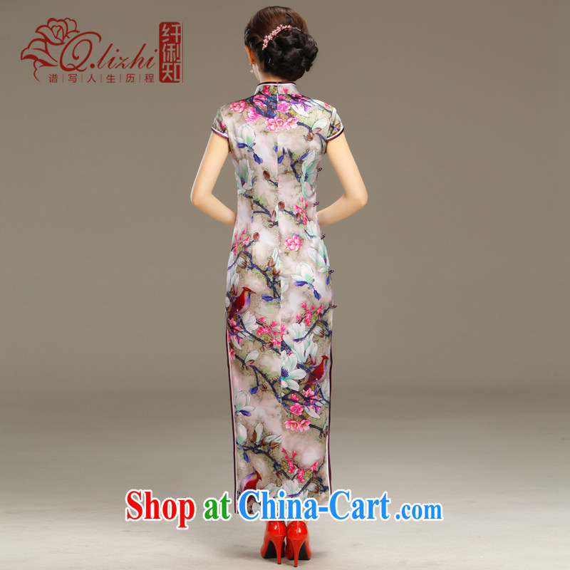 Slim li know smoke Ngai retro Beauty Fashion improved sense of Korea long cheongsam dress daily spring and summer new QLZ Q 15 6055 smoke XXL Ngai, slim Li (Q . LIZHI), and shopping on the Internet