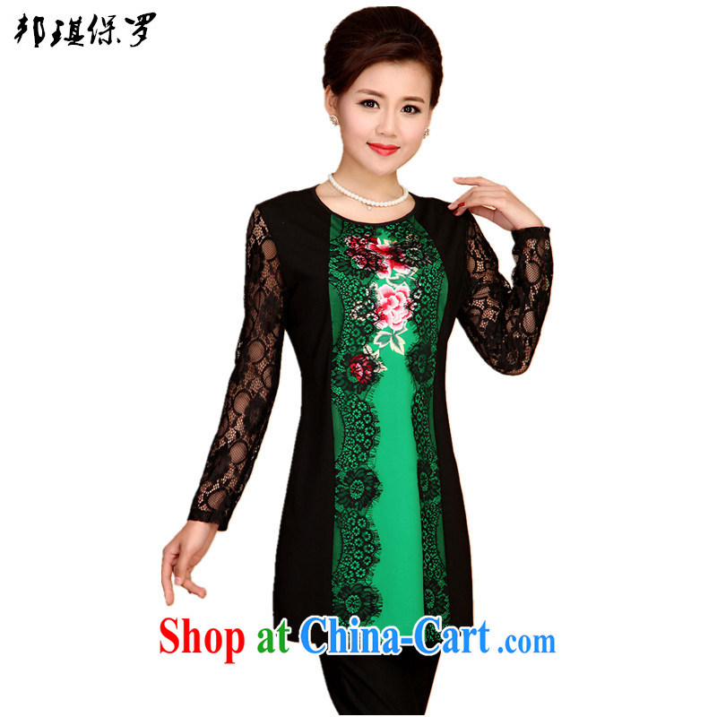 Bong-ki Paul 2015 spring and summer new stylish blouses skirts Tang with improved female short dresses Chinese lace long-sleeved Ethnic Wind mom with green 4 XL
