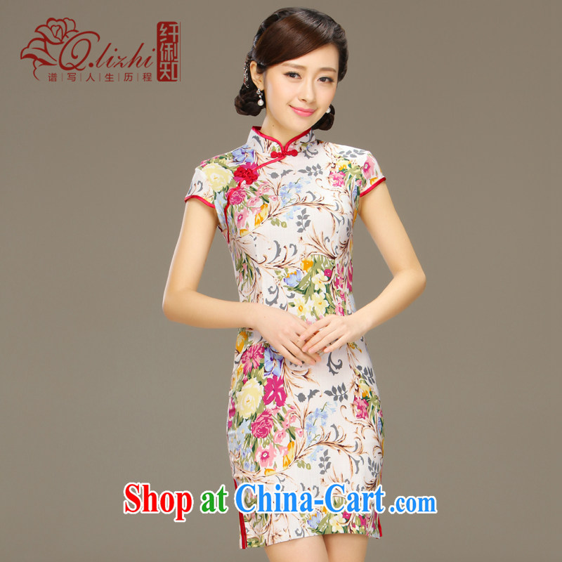 Slim Li informed and strong cotton the cheongsam dress new spring and summer improved Beauty Fashion cheongsam dress short video thin QLZ Q 15 6056 and thicker XXL