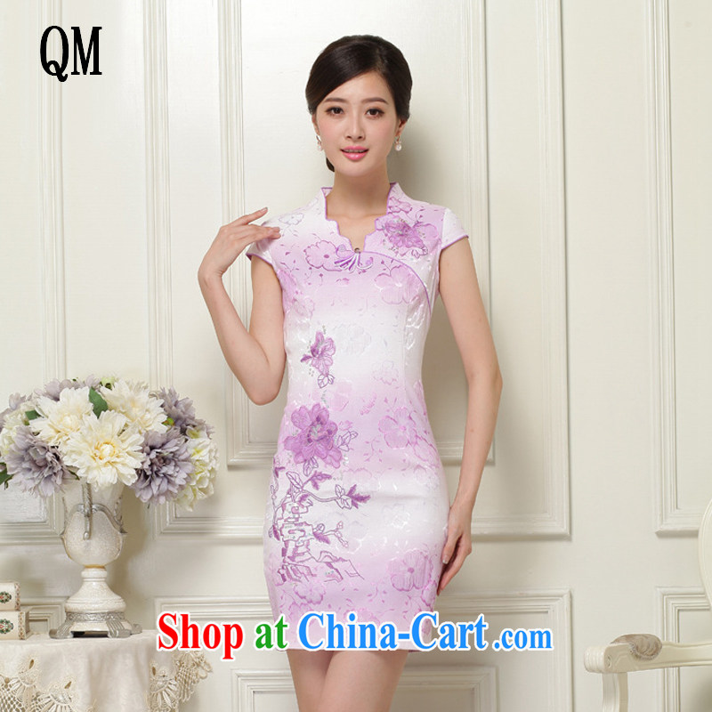 light at the national wind stylish improved cheongsam short cheongsam elegant qipao JT 908 purple XXL