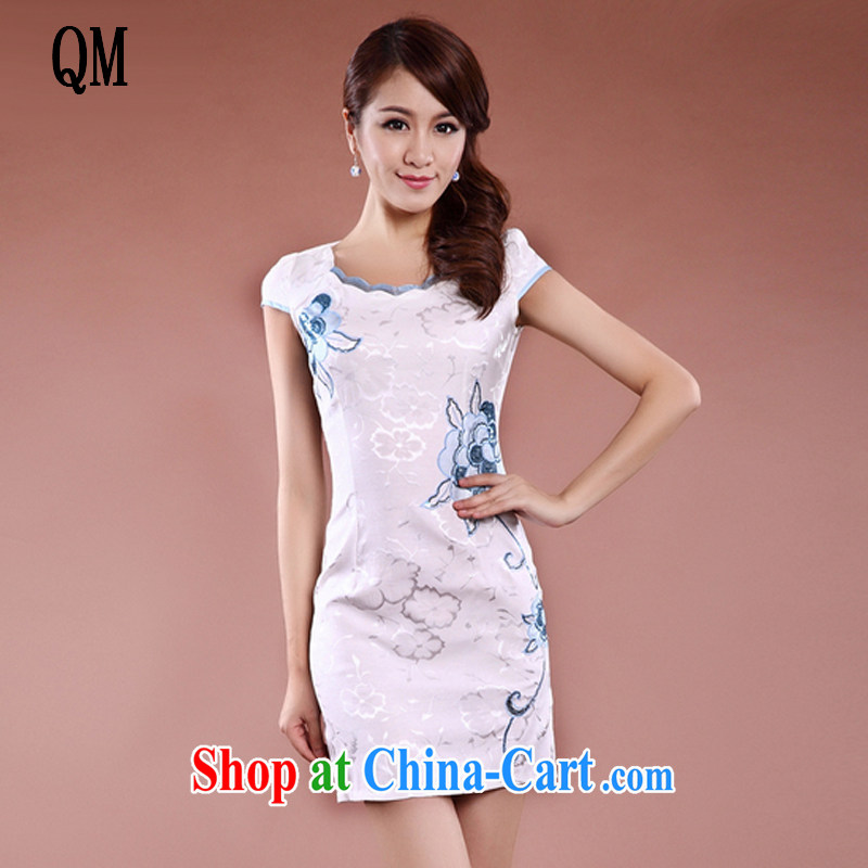 The end is very stylish and improved cheongsam Chinese Ethnic Wind-Power's long, elegant Ms. cheongsam dress JT 909 white XL