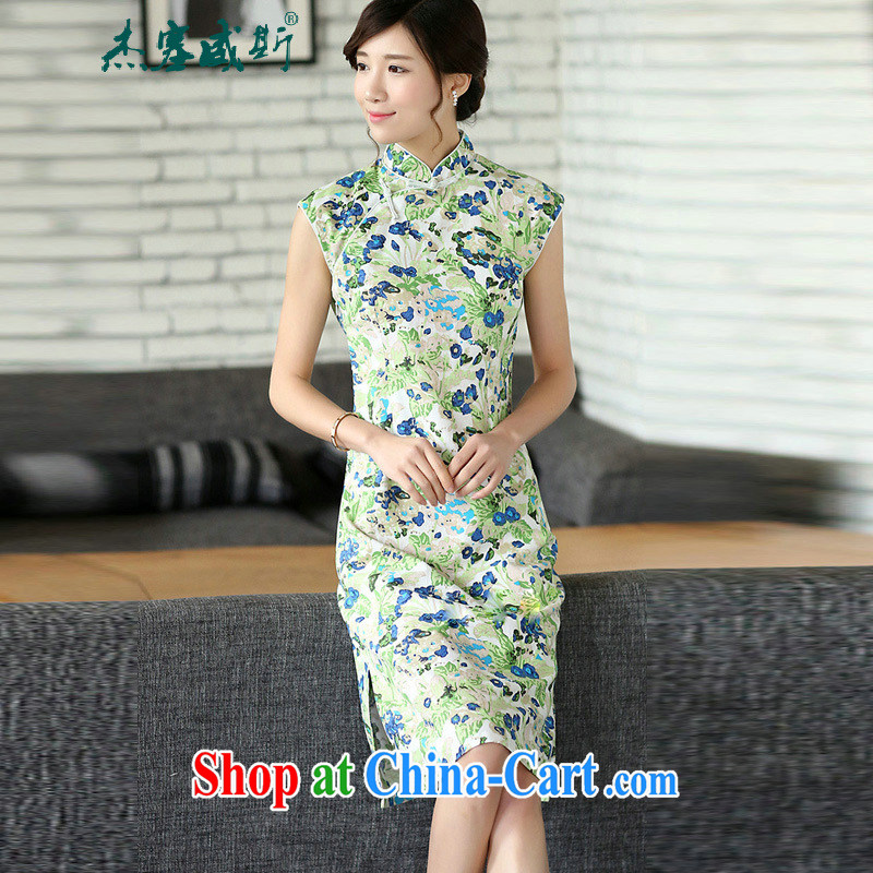 Jessup, summer, new Ethnic Wind improved cultivation linen dresses hand-tie cheongsam dress sleeveless blue out of the blue L