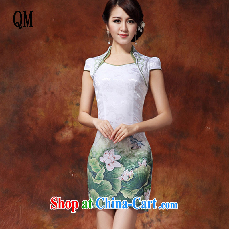 light at the ladies dress up for Chinese Chinese mandarin gowns, long, improved style cheongsam JT 919 _green XXL I should be grateful if you