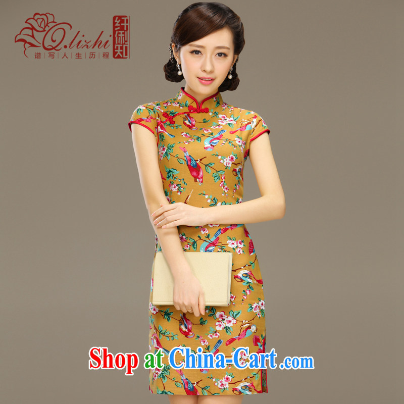 The dirty little known world linen dresses summer improved Stylish retro National Korea wind cotton mA short cheongsam dress QLZ Q 15 6058 micro-world XXL