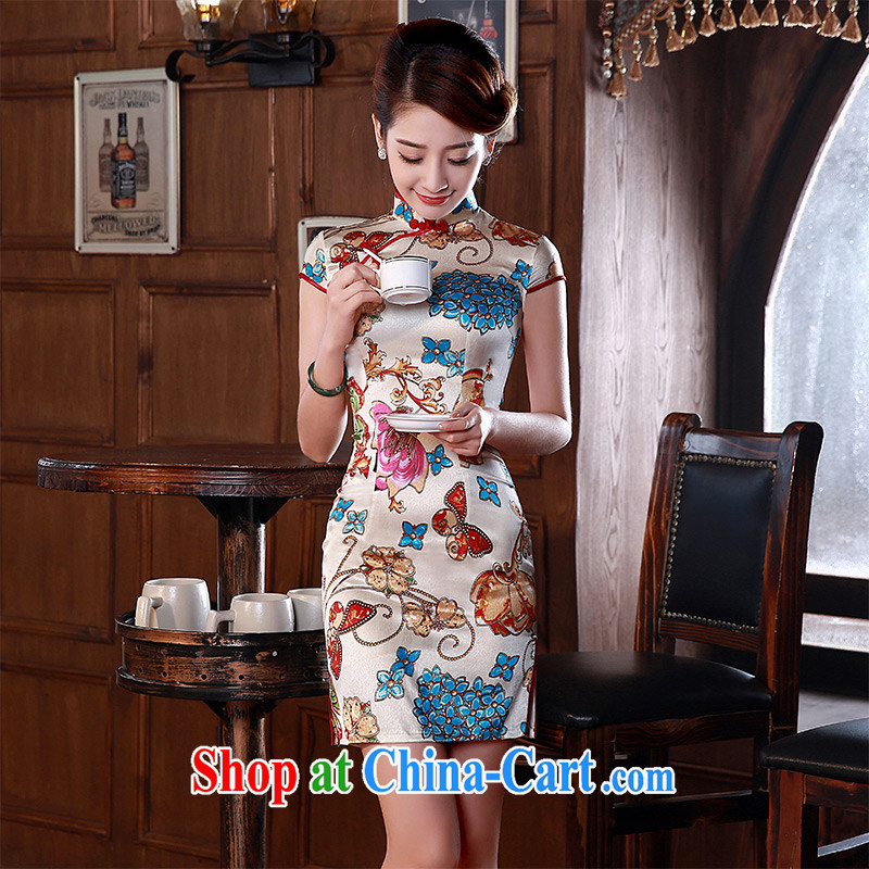 New dresses, spring 2015 retro short-sleeved stylish sauna silk heavy Silk Dresses Q 1051 fancy XXL