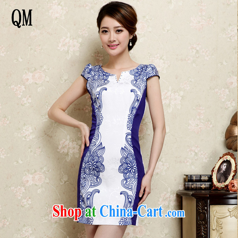 light at the elegance Ethnic Wind Cultivating Female improved cheongsam no's round-cut solid, qipao JT 1021 blue XXL