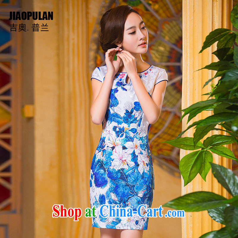 Mr. Kaplan summer 2015 new short cheongsam Chinese wind National wind stylish improved jacquard cotton cheongsam dress PL 234 photo color 234 XXL