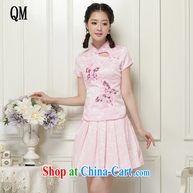 light at the spring and summer, dresses for China's National wind-power's a tight two-piece short cheongsam package JT 988 pink XXL