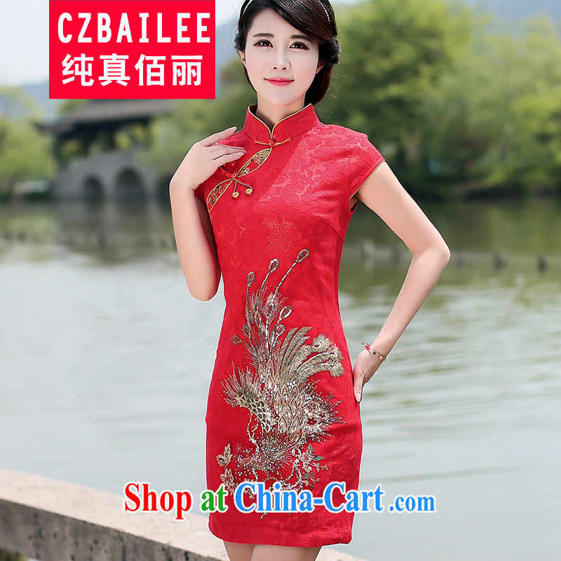 Jin Bai Lai 2015 new dresses summer dresses the improved stylish beauty graphics thin red short-sleeved wedding dress uniform toast 4 XL