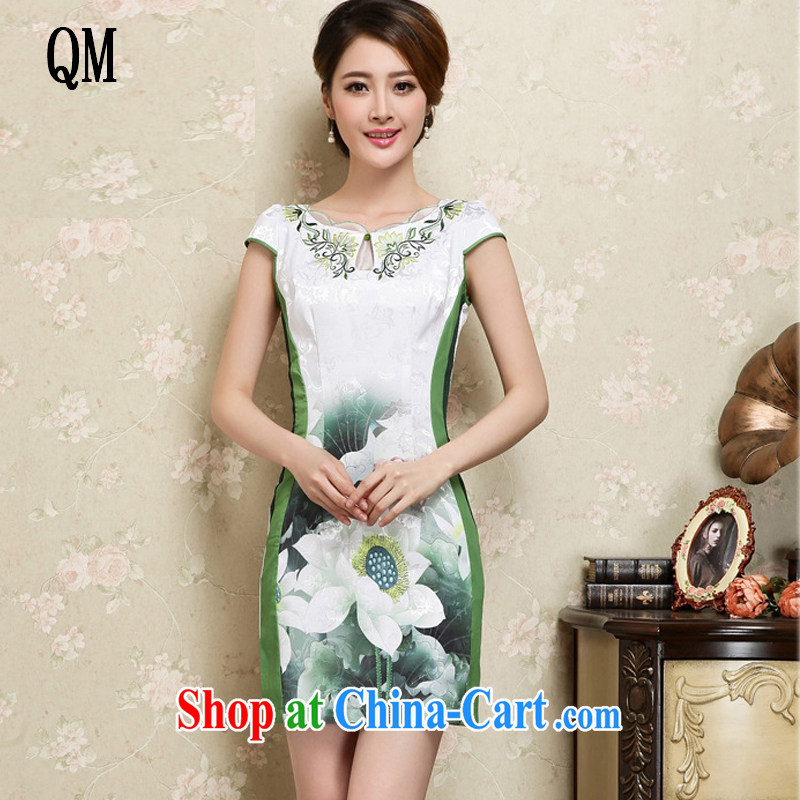 Shallow end China wind female stylish stamp embroidery female short-sleeve is not the forklift truck cheongsam JT 1025 green XXL