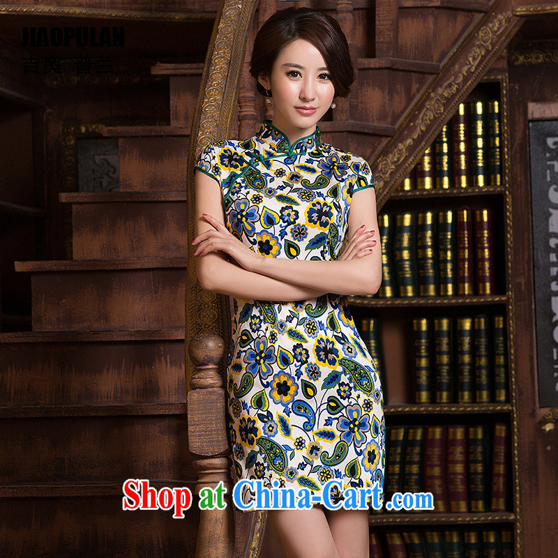 Mr. Kaplan 2015 spring and summer new Ethnic Wind improved daily women Beauty and stylish retro short Sai Kung cotton robes PL 0460 photo color XXL