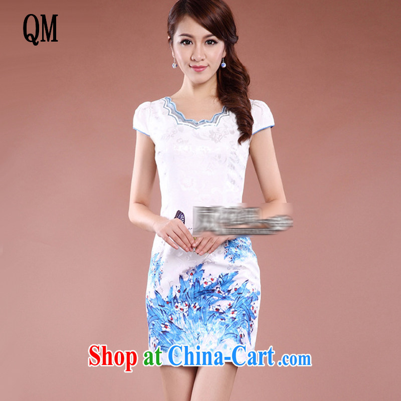 light at the Chinese qipao elegant qipao, long no's style improved cheongsam JT 915 white orchids XXL