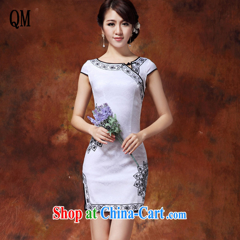 light at the current National wind female fashion improved cheongsam Chinese Pipa flap-in Lao long cheongsam JT 920 white black XL
