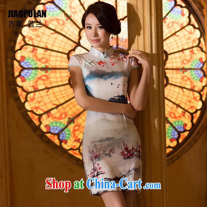 Mr. Kaplan 2015 spring and summer new stylish beauty Silk Cheongsam dress retro Ethnic Wind dress everyday dress PL 0620 photo color XXL