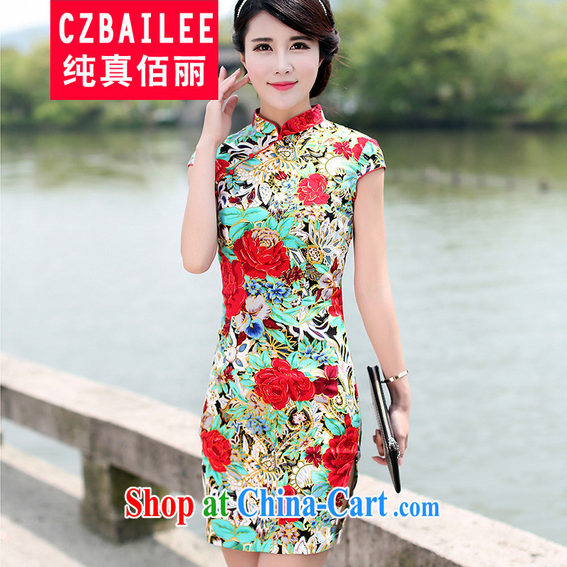 Jin Bai Lai 2015 new dresses the improved summer beauty aura video thin dresses retro short-sleeved gown toast clothing qipao 4 XL