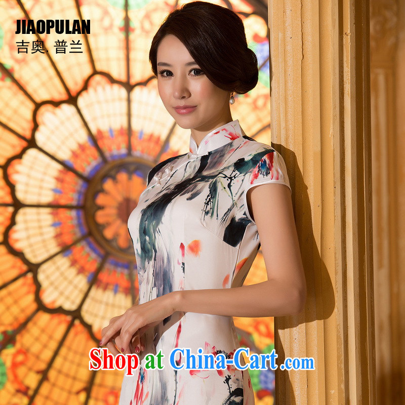 Mr. Kaplan 2015 spring and summer New Water ink painting outfit improved cultivating short cheongsam dress dress dress PL 0630 photo color XXL