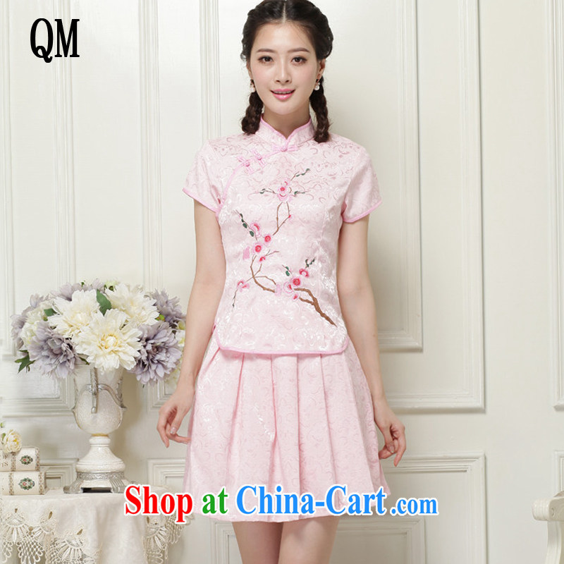 The end is very stylish girl with short, two-piece dresses Ethnic Wind elegant improved cheongsam JT 119 #pink XXL