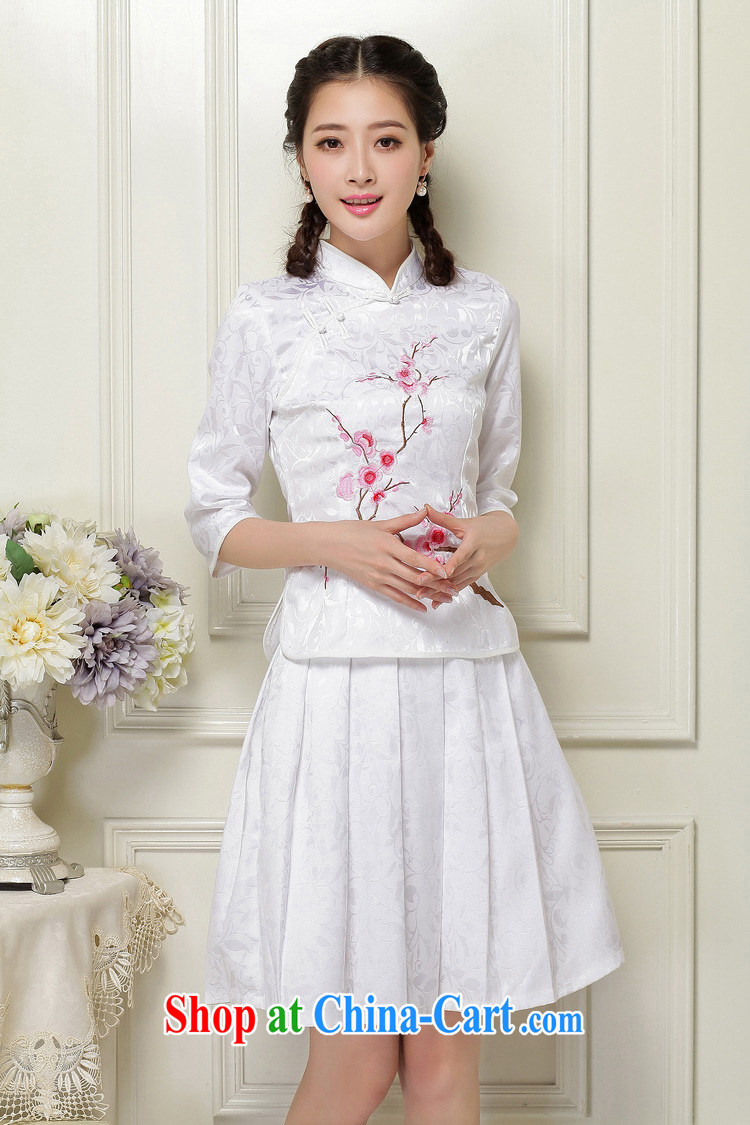 light at the Chinese qipao Ethnic Wind literary minimalist students with the collar, cuff stamp two-piece dresses JT 1058 white XXL pictures, price, brand platters! Elections are good character, the national distribution, so why buy now enjoy more preferential! Health