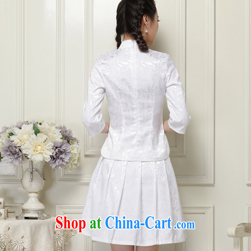 light at the Chinese qipao Ethnic Wind literary minimalist students with the collar cuff stamp duty two-piece dresses JT 1058 white XXL, light (at the end QM), shopping on the Internet