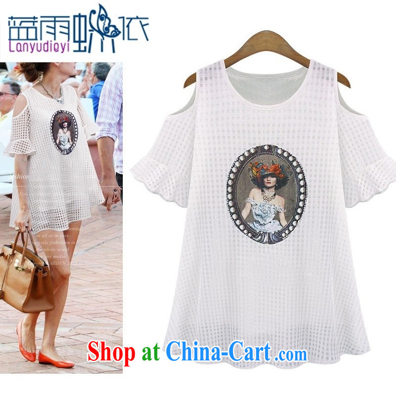 hamilton 2015 the European site summer new round-neck collar exposed shoulder Princess pattern beauty package and short-sleeved dresses 99,058 white XL